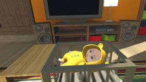 「Real Baby - Real Family」体験中の視界、体験者自身の顔画像から生成されたVR赤ちゃん