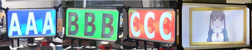 静止画による画像表示例(ABCを同時表示,2Dキャラクターの表示)